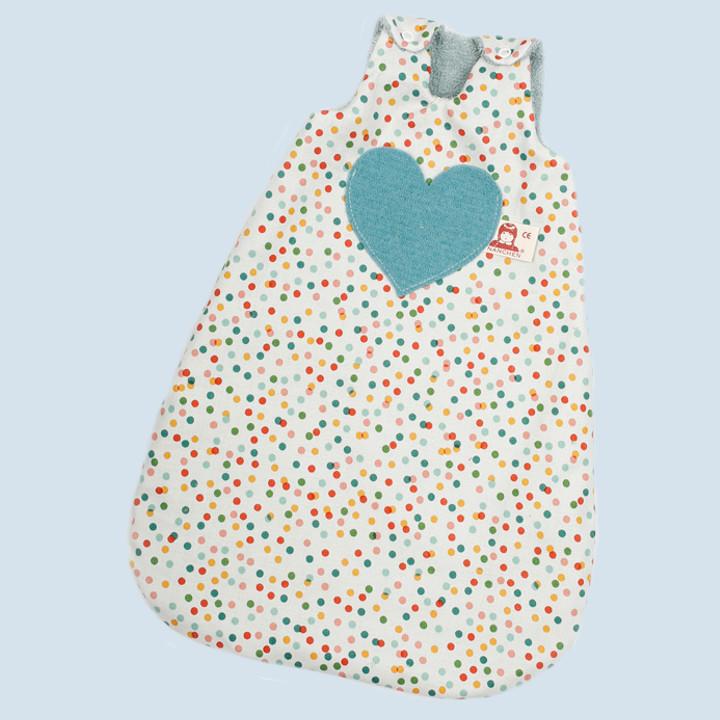 Nanchen Puppenkleidung - Schlafsack, Pünktchen, Bio Baumwolle