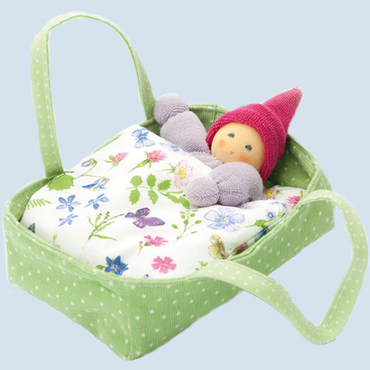 Nanchen eco doll - little dwarf inside a bed - green, organic cotton, eco
