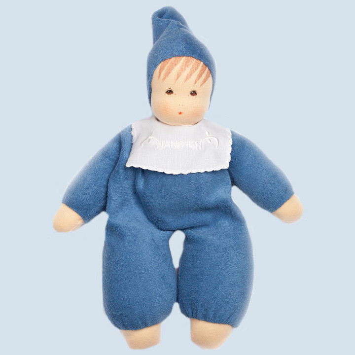 Nanchen doll - soft baby - blue, organic cotton, eco