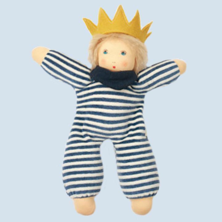 Nanchen eco doll - little king Karl - blue, organic cotton