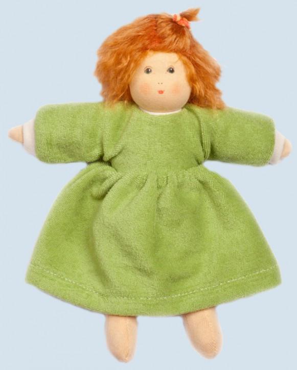 Nanchen Puppe - Flocke mit Kleid - grün, Bio Baumwolle