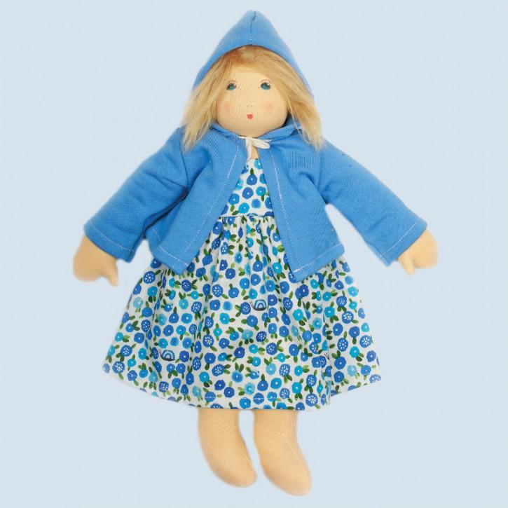 Nanchen eco doll - flower girl Flora - blue, organic cotton