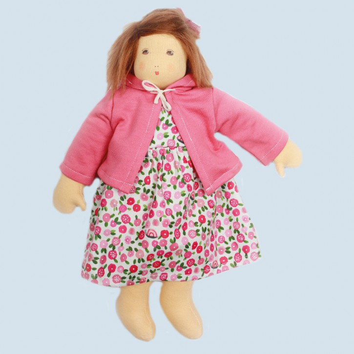 Nanchen eco doll - flower girl Flora - pink, organic cotton