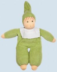 Nanchen Puppe - Baby - grün, Frottee, Bio Baumwolle, öko