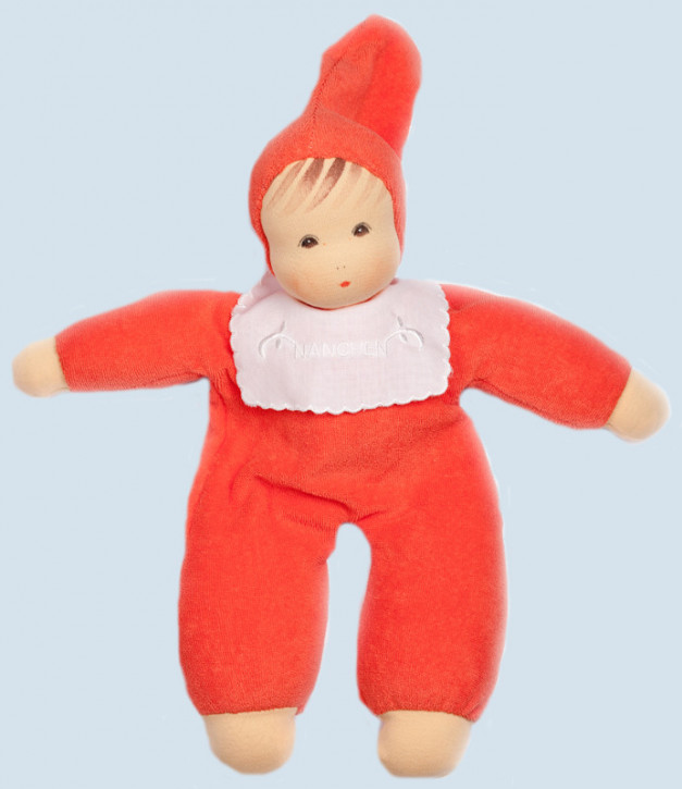 Nanchen organic doll - soft baby - red, organic