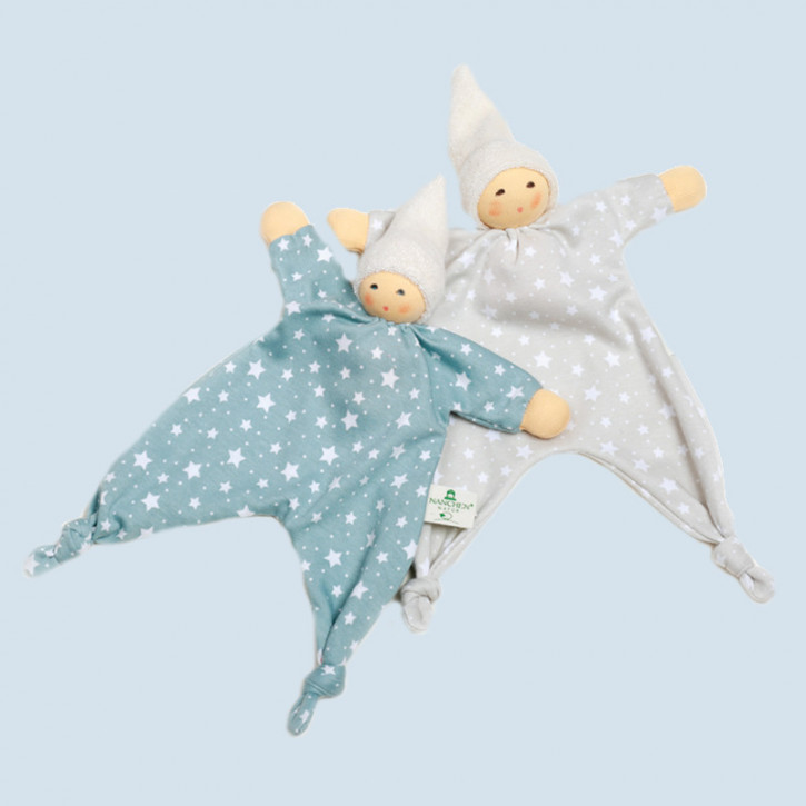 Nanchen - blanket doll - star, beige - organic cotton - blue striped