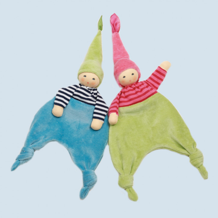 Nanchen doll - Forest elf, turquoise - organic cotton, eco