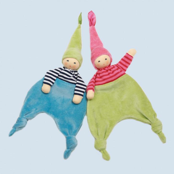 Nanchen Puppe - Waldelfe türkis - Bio Baumwolle
