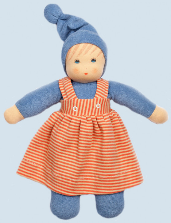 Nanchen eco doll - Girl - blue, organic cotton
