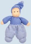 Nanchen Puppe - Mini Möpschen - blau gestreift, Bio Baumwolle, öko