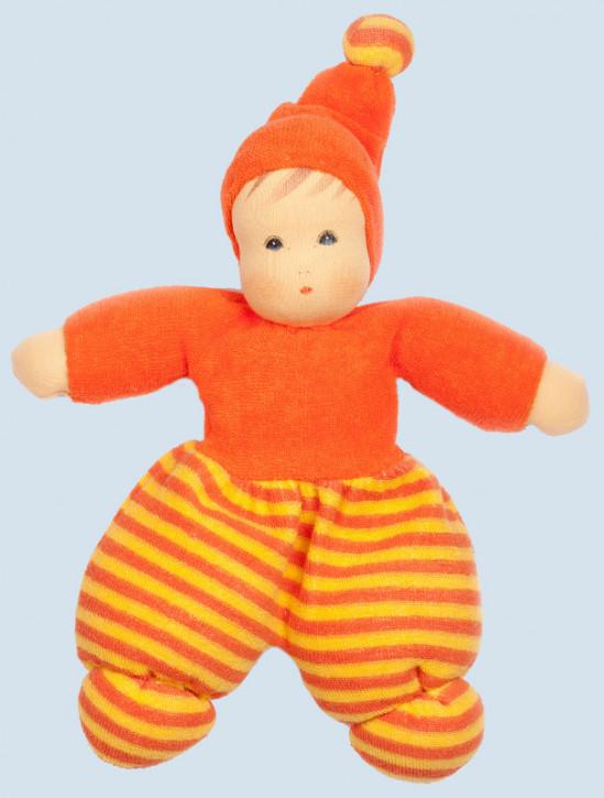 Nanchen Puppe - Mini Möpschen - orange gestreift, Bio Baumwolle, öko