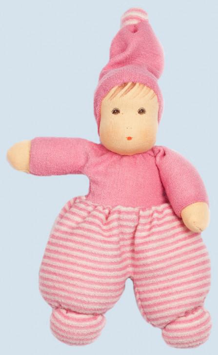 Nanchen Puppe - Mini Möpschen - rosa gestreift, Bio Baumwolle, öko
