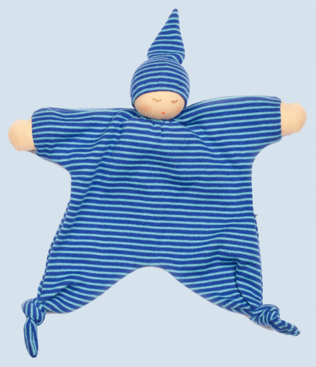 Nanchen - blanket doll - moon - organic cotton - blue striped