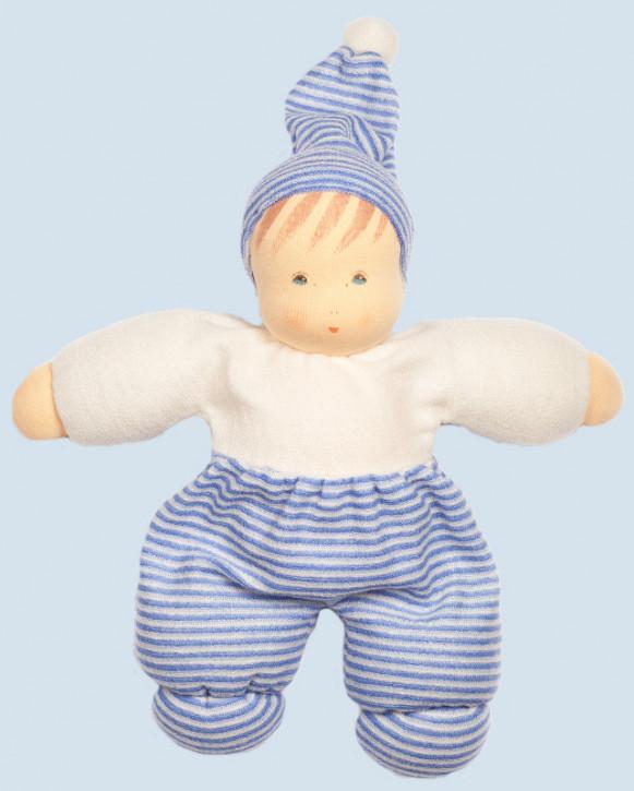 Nanchen Puppe - Mops - hellblau gestreift, Bio Baumwolle, öko