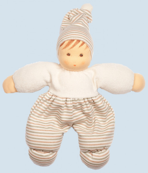 Nanchen eco doll - Mops - white, striped - organic
