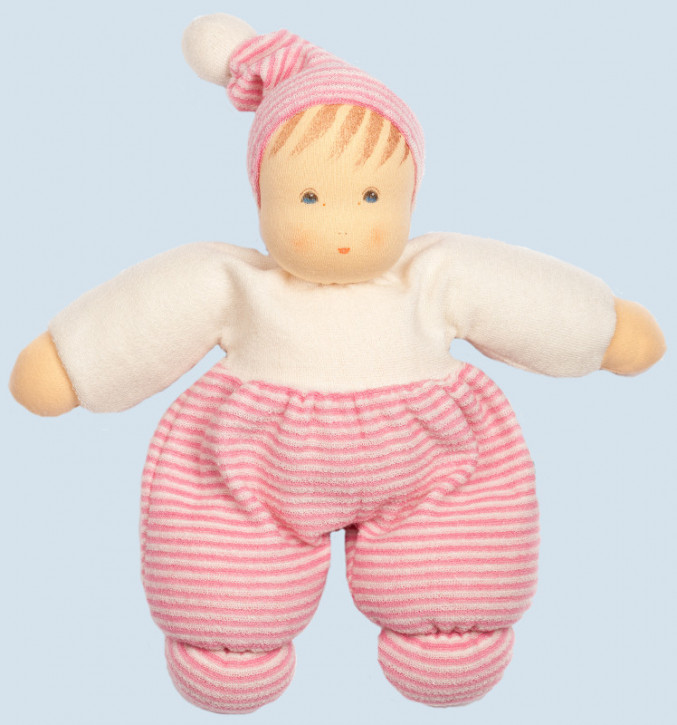 Nanchen eco doll - Mops - pink, striped - organic