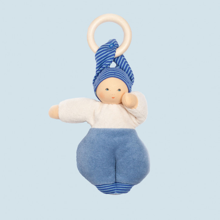 Nanchen Doll - Lolly blue - organic cotton - with wooden ring