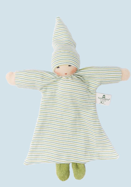 Nanchen - doll with blanket - green, organic, eco