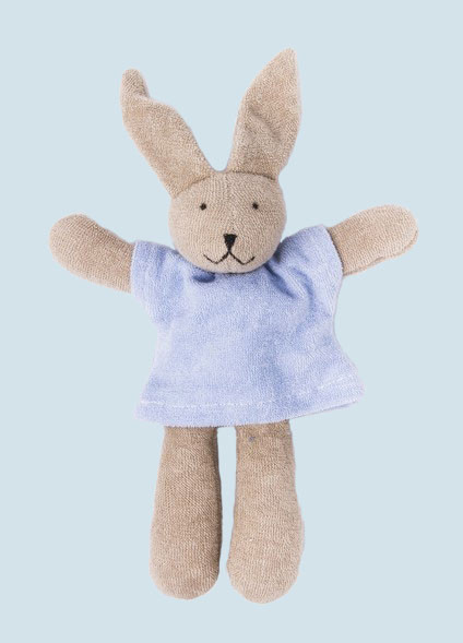 Nanchen organic soft toy - Rabbit / Bunny Hasi - blue, eco