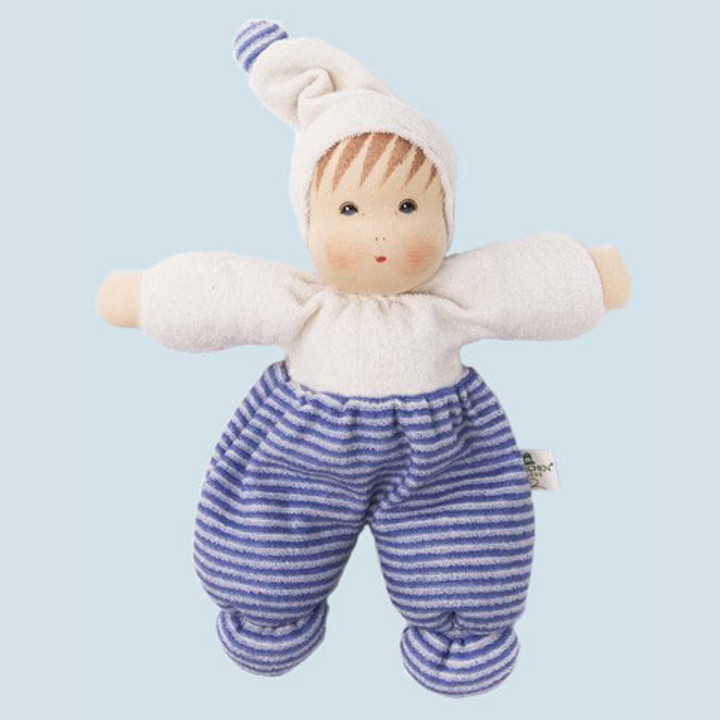 Nanchen eco doll - Mopsi - blue, striped - organic