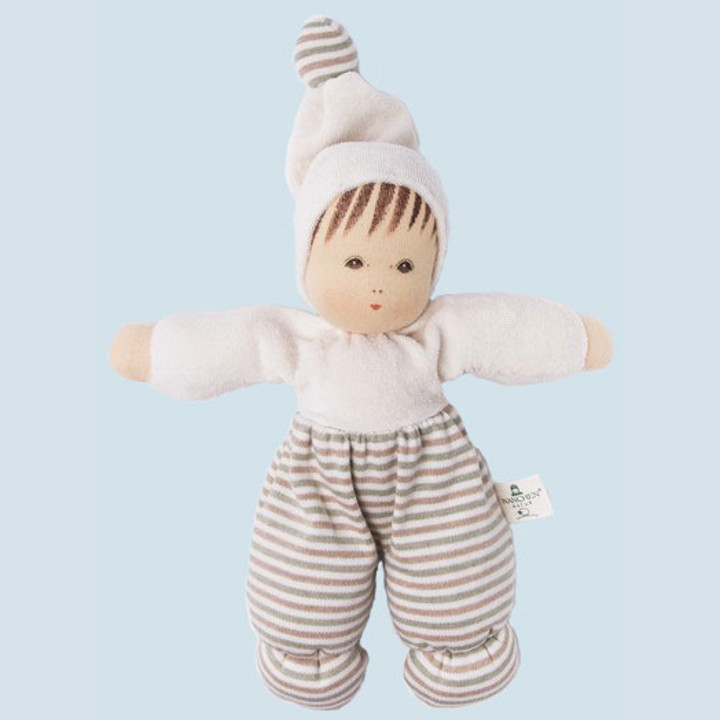 Nanchen organic doll - moepschen - nature, striped, cotton - eco