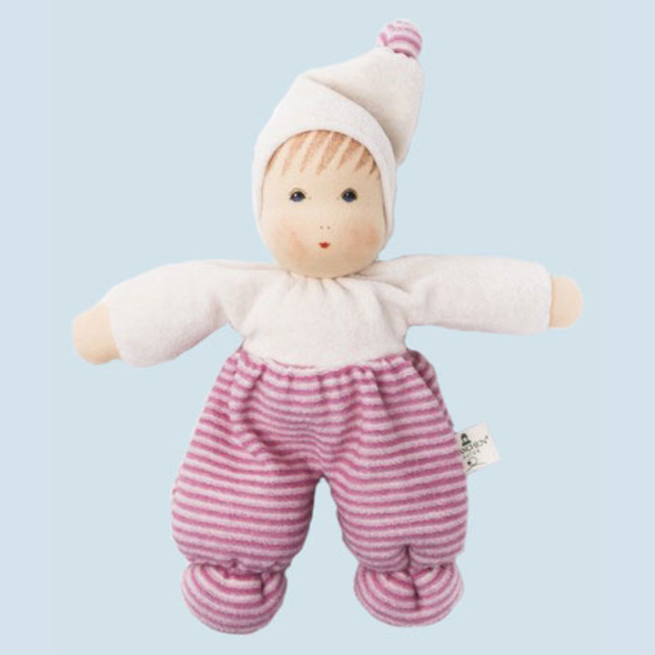 Nanchen eco doll - Mopsi - pink, striped - organic