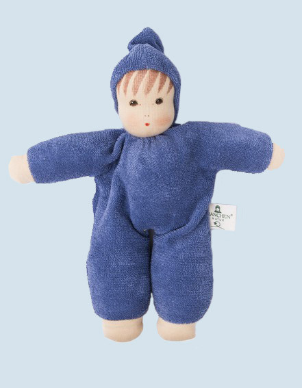 Nanchen eco doll - Schmuse - blue, organic cotton
