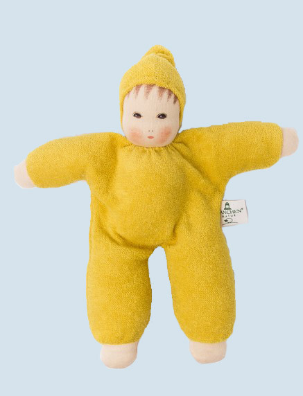 Nanchen eco doll - Schmuse - yellow, organic cotton