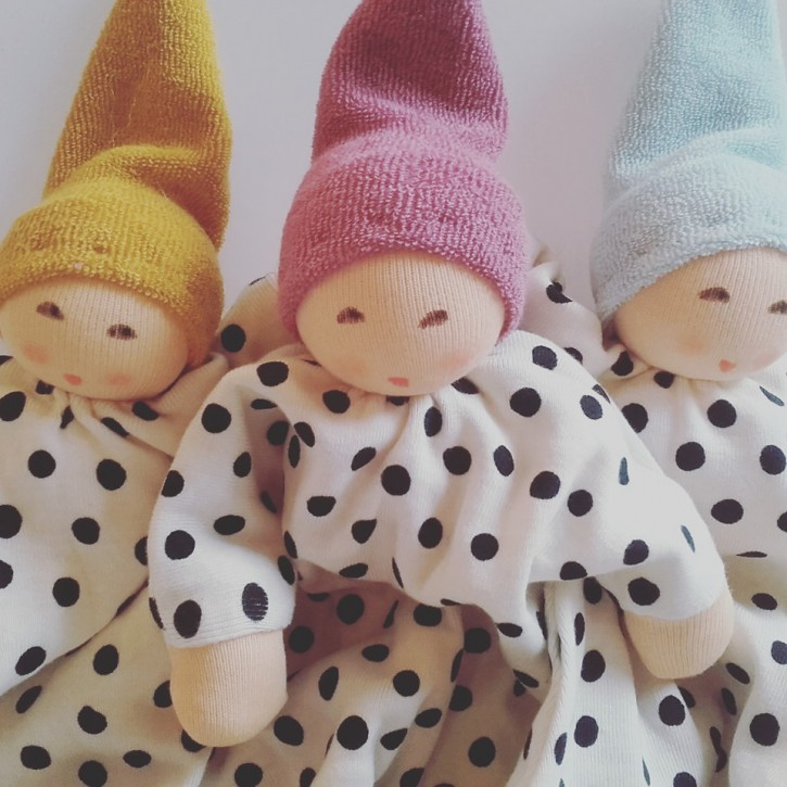 Nanchen eco doll - blanket doll - little dot lilac, organic cotton