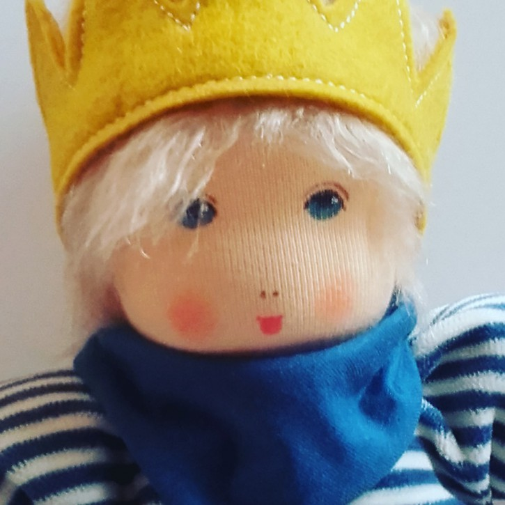Nanchen eco doll - little king karl - blue, organic cotton