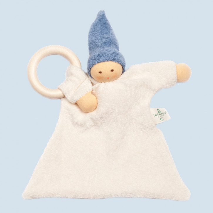 Nanchen organic soft toy - comforter Nuckel - blue, wooden ring