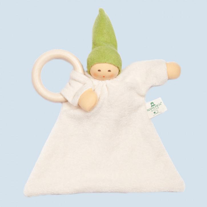 Nanchen organic soft toy - comforter Nuckel - green, wooden ring