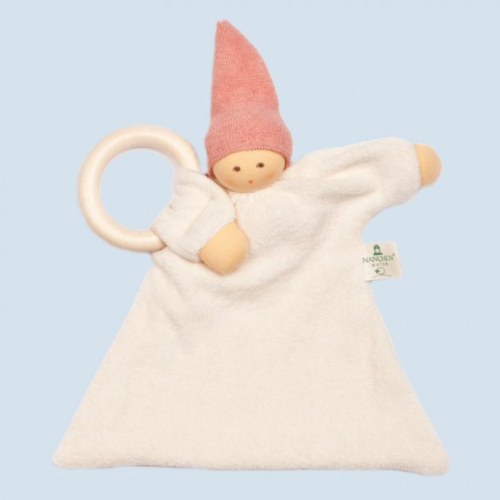 Nanchen organic soft toy - comforter Nuckel - pink, wooden ring