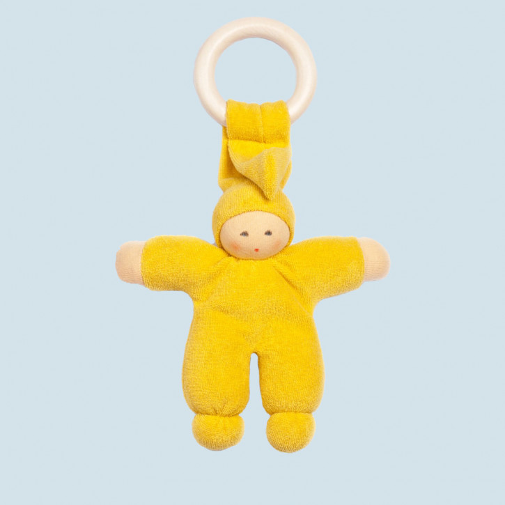 Nanchen Doll - Pimpel - yellow, organic cotton, wooden ring, eco