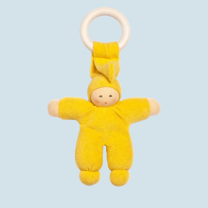 Nanchen Puppe - Greifling Pimpel, Holzring - gelb, Bio Baumwolle, öko