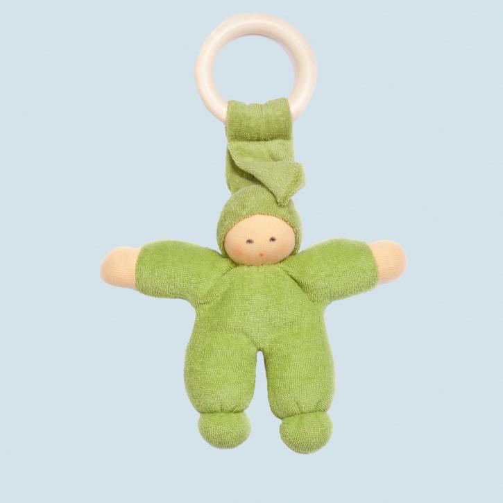 Nanchen Puppe - Greifling Pimpel, Holzring - grün, Bio Baumwolle, öko