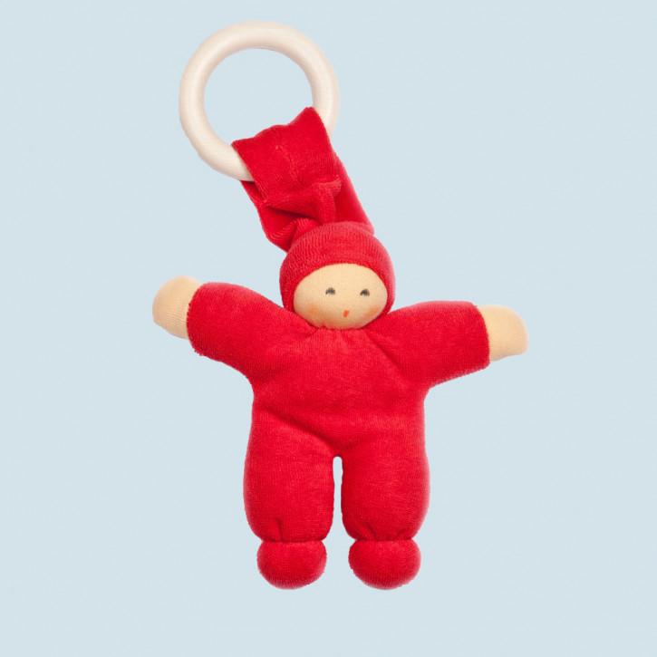 Nanchen Puppe - Greifling Pimpel, Holzring - kirschrot, Bio Baumwolle