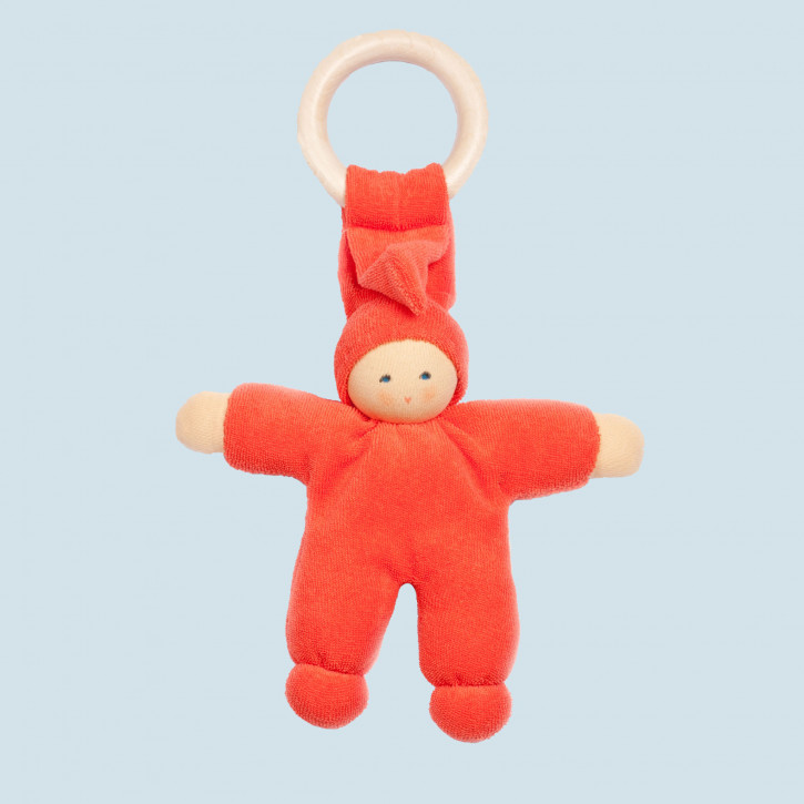 Nanchen doll - Pimpel with wooden ring - red, organic cotton, eco