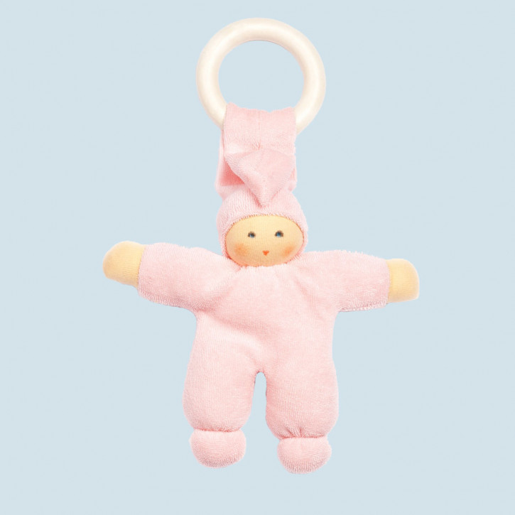 Nanchen Puppe - Greifling Pimpel, Holzring - rosa, Bio Baumwolle, öko