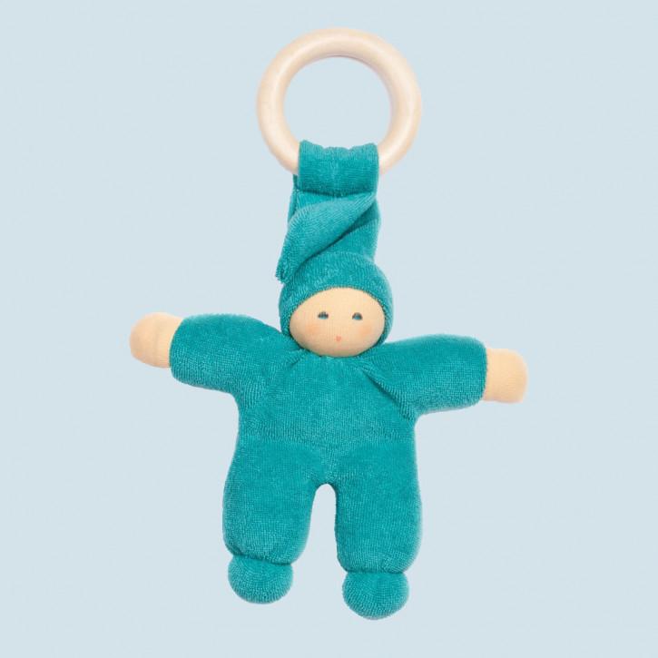 Nanchen Puppe - Greifling Pimpel, Holzring - türkis, Bio Baumwolle
