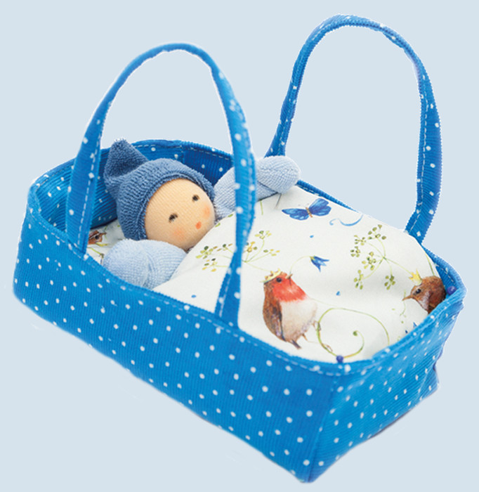 Nanchen eco doll - little dwarf inside a flowered bed - blue