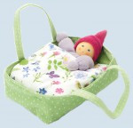 Nanchen eco doll - little dwarf inside a flowered bed - green