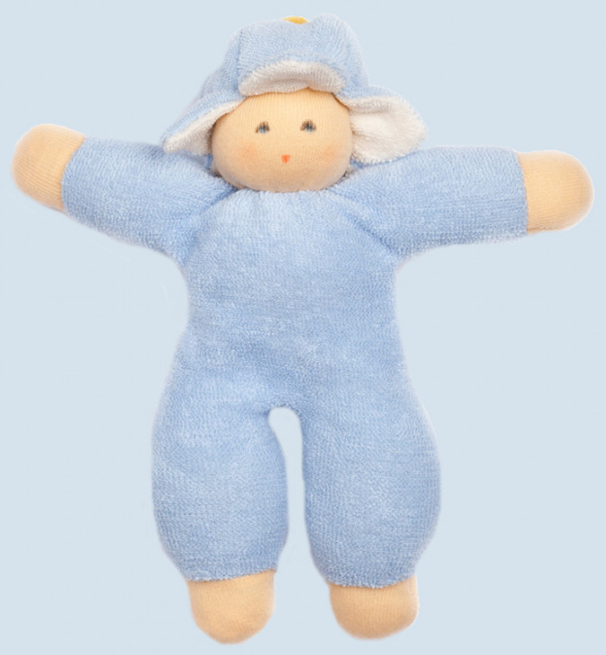 Nanchen doll - Flower-Fairy, light blue - organic cotton