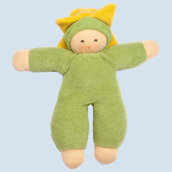 Nanchen Puppe - Blumenfee - grün, Bio Baumwolle