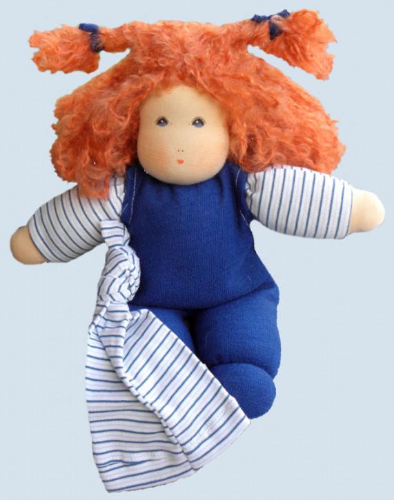 Nanchen Puppe - Wuschel mit Haaren, blau, Bio Baumwolle
