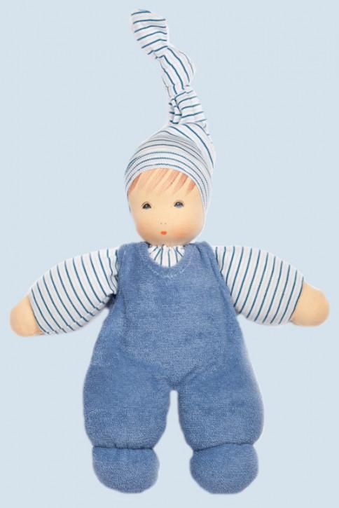 Nanchen Puppe - Wuschel mit Mütze - blau, Bio Baumwolle, öko
