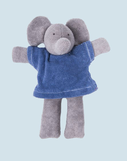 Nanchen organic soft toy - Elephant Ele - blue, eco
