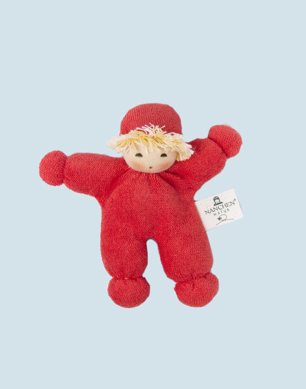 Nanchen eco doll - pea - organic cotton, red