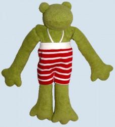 Nanchen Puppe - Frosch Pia - rote Hose, Bio Baumwolle, öko