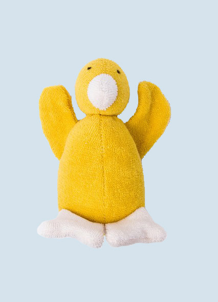 Nanchen eco cuddly animal - duck - yellow, organic